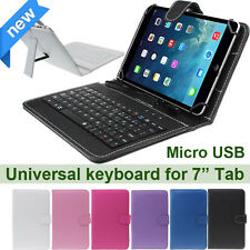 "Universal 7"" Leather Case Cover Micro USB Keyboard Folio case For Tablet PC NEW"