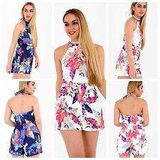 WOMENS LADIES NAVY CREAM MULTI TROPICAL FLORAL PRINT HALTERNECK PLAYSUIT DRESS