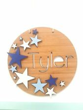 Personalised Children's Wooden Star Coloured Name Sign Plaque