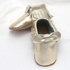 Lot Of 4 Baby Moccasins Infant Toddlers Bow Boys Gold Bow Genuine Leather Shoes