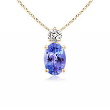 """Solitaire Oval Tanzanite With Diamond Pendant Necklace 14K Yellow Gold 18"""" Chain"""