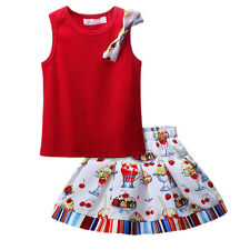 Girls Kids Cotton T-shirt Top and Pleated Print Skirt Set Princess Party Pageant