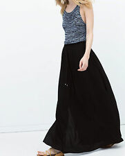 SOLD OUT!!! ZARA BLACK MAXI LONG FLOWING SKIRT SIZE XS UK 6 8