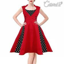 Women's 1950s Rockabilly Polka Dot Vintage Christmas Evening Party Swing Dress