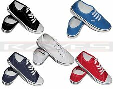 NEW LADIES WOMEN GIRLS FLAT LACE-UP PLIMSOLLS PUMPS CANVAS FASHION GYM TRAINERS