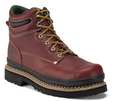Georgia Giant Mens Soggy Brown Leather Oblique Steel Toe Work Boots