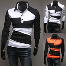 New Luxury Men's Button Front Slim Fit Casual Long Sleeve Polo Shirt T-Shirt d99