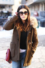 ZARA DUFFLE COAT WITH FUR TRIM HOOD JACKET PARKA KHAKI SOLD OUT BLOGGERS Small S