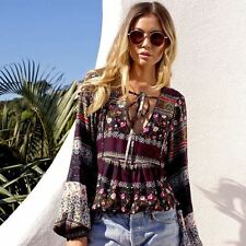 Women Floral Printed V Neck Lace Up Long Sleeve Vintage Retro Casual Blouse