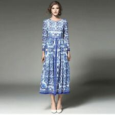 Fashion O Neck Long Sleeve Vintage Printed Casual Mid Calf Dress For Women