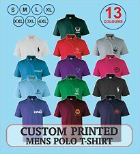 Mens Polo working shirts custom printed with YOUR ~  Logo/Txt/Name/Company
