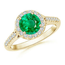 Natural Round Emerald Halo Ring with Diamond Accent 14K Yellow Gold Size 3-13