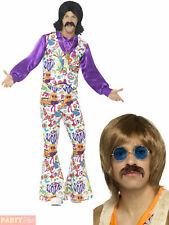 Mens 60s Hippie Fancy Dress Costume Wig Moustache + Glasses Adult Hippy Outfit