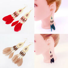 Bohemia Women Feather Tassel Eardrop Dangle Ear Hook Earring Fashion Jewelry Hot