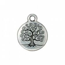 Fine Silver Plated Pewter Round Tree Of Life Charm 19mm (1). Delivery is Free