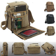 Men's Vintage Canvas Leather Satchel School Military Shoulder Bag Messenger JS