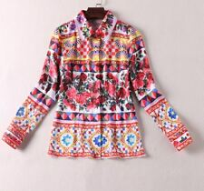 Women Autumn Fashion Print Casual Turn-down Collar Long Sleeve Blouse AD969