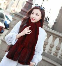 100% Real Genuine Knitted Mink Fur Scarf Shawl Wrap Vintage Gift -3Colour