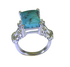 Turquoise 925 Sterling Ring L-1in goodly Turquoise supplies AU K,M,O,Q