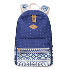 Women Backpack Shoulder Bag Schoolbag Bookbag Canvas Outdoors Multicolor