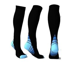 Compression Socks for Running Sports Fitness CrossFit 15-20mmHg Knee High (S~XL)