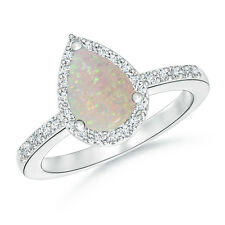 Solitaire Pear Shape Natural Opal Engagement Ring with Diamond Halo 14k Gold