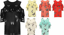 Plus Womens Butterfly Print Layered T-Shirt Top Ladies Cut Out Cold Shoulder New