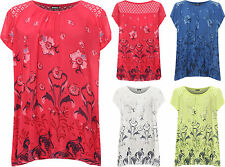 Plus Womens Lace Back Top Ladies Floral Print Cap Sleeve Butterfly Print
