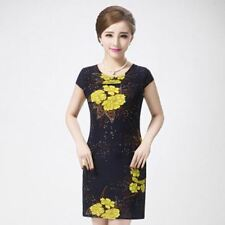 New Fashion Casual Plus Size Slim Tunic Floral Printed Mini Dress For Women