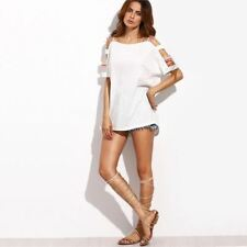 Women Summer Casual Square Neck Cut Out Short Sleeve T-shirt