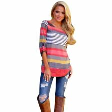 Autumn/winter Loose O Neck Striped Pattern Full Sleeve Casual Top for Women