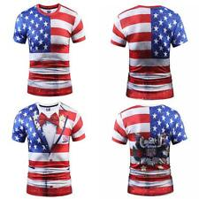 Men American Flag T-Shirt Patriotic Vintage Shirt Short Sleeve Hip Hop Tee Shirt
