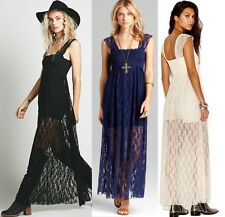 NWT Free People Romance In The Air Maxi Lace Slip Dress S M Black or Indigo