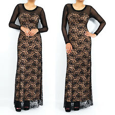 Sweetheart Neckline Lace Long Sleeve Maxi Dress Evening Party Prom Dress