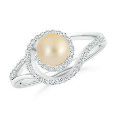 Golden Japanese Cultured Pearl Halo Engagement Ring with Diamond 14K White Gold