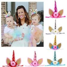 Kids Baby Girls Boys Flower Unicorn Ears Horn Headbands Stretch Party Cosplay