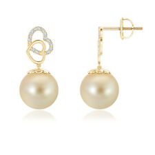 10MM Golden South Sea Cultured Pearl Drop Earrings with Diamond 14K Yellow Gold