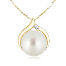 June birthstone South Sea Cultured Pearl Pendant Necklace And Diamond 14K Gold