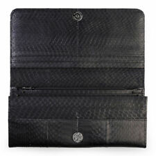 Genuine Cobra Snake Skin Leather Trifold Wallet Clutch Purse Womens Lady Black