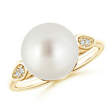 10MM South Sea Cultured Pearl Cocktail Ring with Diamond 14k Yellow Gold/Silver