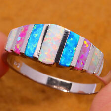Fashion Pink Blue White Fire Opal Silver Plated Ring Women Jewelry Size 6 8 12