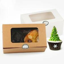 20x Kraft Paper Cupcake Box Holder Muffin Carrier Bakery Carry Out Box Window