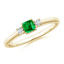 Square Emerald With Diamond Three Stone Ring 14K Yellow Gold/Platinum Size 3-13
