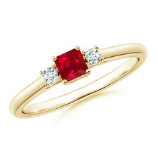 Square Ruby and Diamond Three Stone Ring 14K Yellow Gold/Platinum Size 3-13