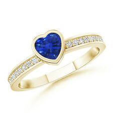 Bezel Heart Sapphire Promise Ring with Diamond 14K Yellow Gold Size 3-13