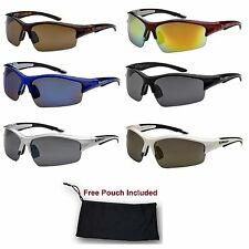 Mens Xloop Sports Wrap Around Ski Hunting Golf Bike Mirrored Sunglasses Shade