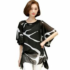 New Fashion Printed Short Sleeve Loose Chiffon Fabric Striped Blouse For Women