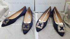 New Authentic Manolo Blahnik Hangisi Flats Navy Blue Satin Jewel Buckled Shoes