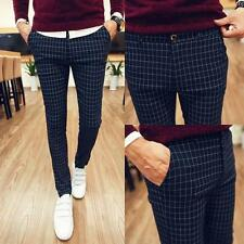 Men's Stylish Checked Slim Fit Cotton Soft Long Pants Zipper Trousers New Chic