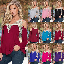 New Women's Ladies Loose Casual Long Sleeve Blouse Lace T Shirt Summer Tee Top d